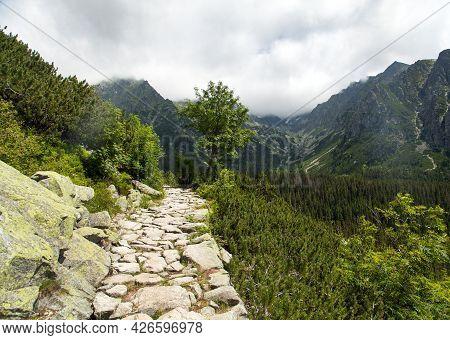 Stone Mountain Trail In The Vysoke Tatry Or High Tatras Mountains, Carpathia, Slovakia