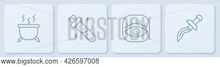 Set Line Witch Cauldron, Masons, Bottle With Potion And Dagger. White Square Button. Vector