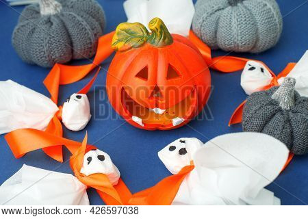 Making Ghosts From Paper Napkins To Halloween Home Party. Decor Of Room. Children's Art Project. Diy