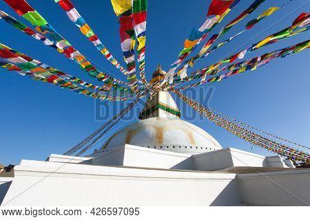 Boudha, Bodhnath Or Boudhanath Stupa With Prayer Flags, The Biggest Buddhist Stupa In Kathmandu City
