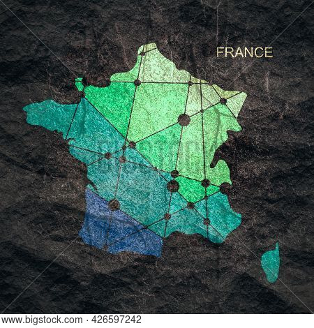 Map Of France. Concept Of Travel And Geography.