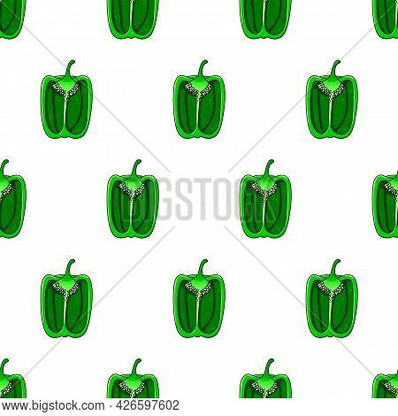 Green Pepper Pattern. Beautiful Shiny Healthy Green Vegetable For Salads, Sauces And Stuffed Dishes.