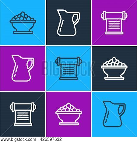 Set Line Olives In Bowl, Decree, Parchment, Scroll And Bottle Of Olive Oil Icon. Vector