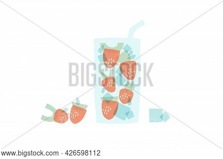 Strawberries Made From Geometric Shapes. Stylized Strawberry Cocktail.