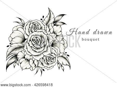 Hand Drawn Wedding Bouquet Isolated On White, Spring Blossom Composition With Roses, Beautiful Botan