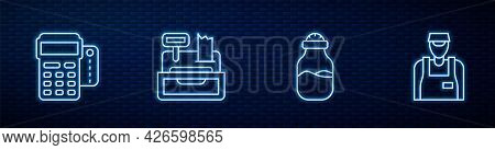 Set Line In Can, Pos Terminal With Credit Card, Cash Register Machine And Seller. Glowing Neon Icon