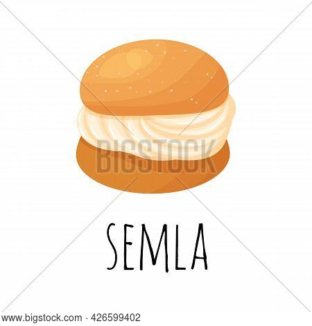 Traditional Swedish Sweets. Semla Samlor, Vastlakukkel, Laskiaispulla Is A Traditional Sweet Bun Fro