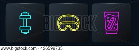 Set Line Dumbbell, False Jaw In Glass And Eye Sleep Mask. Black Square Button. Vector