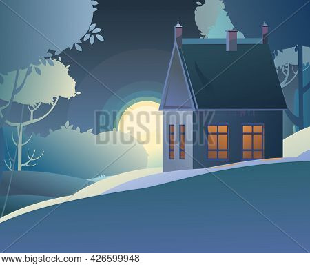 Rural House At Night With Glowing Windows. Natural Landscape With The Moon. Dark Landscape With Tree