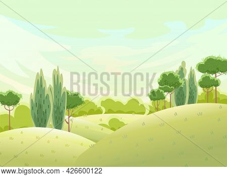Hilly Meadows. Flat Cartoon Style. Rural Landscape With Trees And Grass On The Hills. Soft Summer Sk