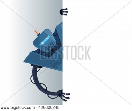 Cute Blue Robot Peeks Look Out Behind Corner Blank Poster Space For Text. Cyborg Character Holding E