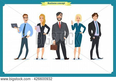 Business People Teamwork, Vector Illustration In A Flat Style Cartoon Character. Business Team. A Gr