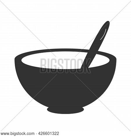 Bowl Of Cereal And Spoon Vector Icon. Meal Bowl