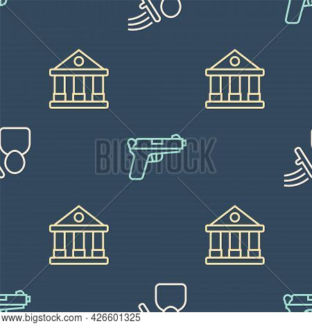 Set Line Police Beat Human, Courthouse Building And Pistol Or Gun On Seamless Pattern. Vector