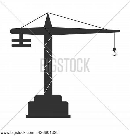 Building Construction Crane Line. Tower Crane Vector Illustration