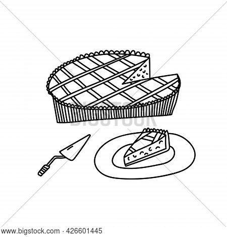 Hand Drawn Vector Illustration Of Pumpkin Or Other Pie. Cut Pie With A Slice On A Plate. Bakery Conc