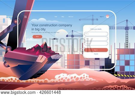 Construction Company In Big City Concept. Real Estate Business Website Layout. Investments In Buildi