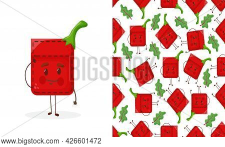 Seamless Pattern Pepper Shaped Patch Pocket. Character Pocket Pepper. Cartoon Style. Design Element.
