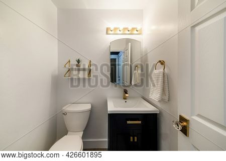 Modern Powder Room Design With Matching Gold Fixtures