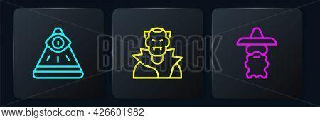 Set Line Masons, Wizard Warlock And Vampire. Black Square Button. Vector