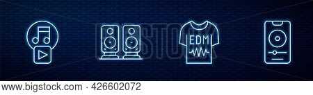 Set Line T-shirt, Play In Square, Stereo Speaker And Music Player. Glowing Neon Icon On Brick Wall.