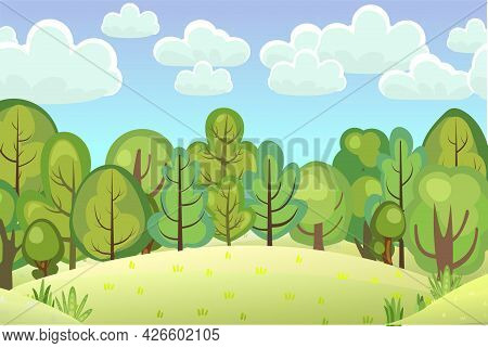 A Glade On A Hill In The Forest. Flat Cartoon Style. Rural Landscape With Dense Thickets. Bright Sum