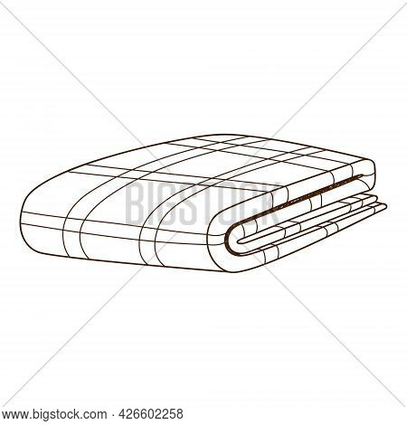 Folded Plaid Blanket. Cover. Design Element With Outline. The Theme Of A Cozy Winter, Autumn. Doodle