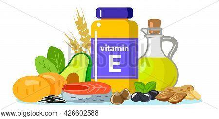 Vitamin E Vector Illustration Foods Containing Tocopherol Sunflower Seeds, Sunflower Oil, Herbs, Oli