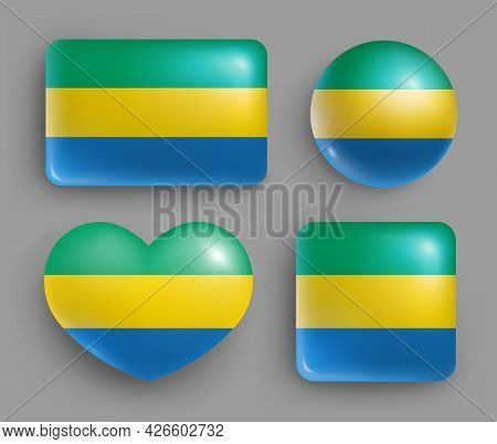Set Of Glossy Buttons With Gabon Country Flag. Middle African Republic National Flag, Shiny Geometri