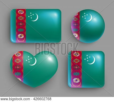 Set Of Glossy Buttons Of Turkmenistan Country Flag. Middle Asia Country National Flag, Shiny Geometr
