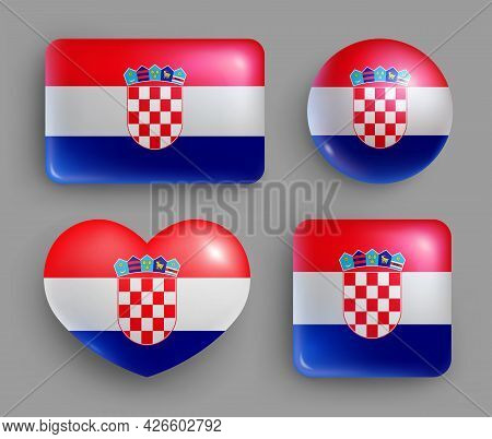 Set Of Glossy Buttons With Croatia Country Flag. Europe Country National Flag Shiny Badges Of Geomet