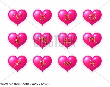 Zodiac Signs In The Shape Of A Heart Set. Twelve Astrological Symbols In Pink Hearts Collection. Lov