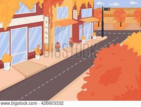Autumn City Street Flat Color Vector Illustration. Fall Season. Trees With Orange Foliage. Harvest H