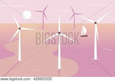 Floating Wind Turbines Flat Color Vector Illustration. Providing Renewable Energy. Eco-friendly Solu