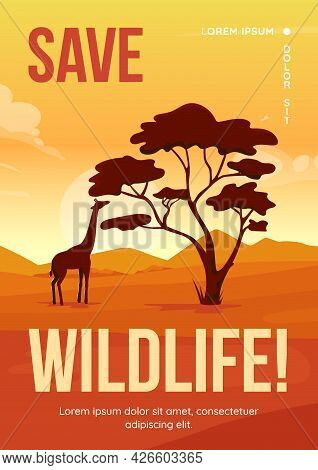 Save Wildlife Poster Flat Vector Template. Wild Animals Habitats Protection. Brochure, Booklet One P