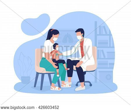 Mother And Child Appointment At Hospital 2d Vector Isolated Illustration. Pediatric Office Visit Fla