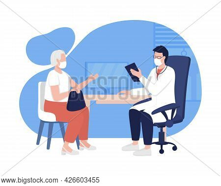 Patient And Physician Meeting 2d Vector Isolated Illustration. Medical Care Appointment For Older Pa
