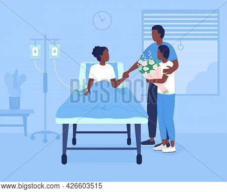 Family Support During Hospitalization Flat Color Vector Illustration. Patient Room At Clinic. Father