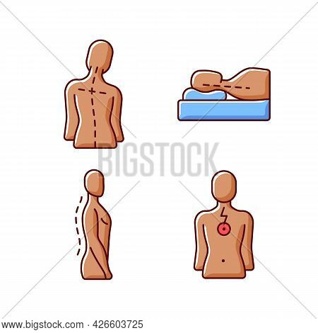 Postural Dysfunction Rgb Color Icons Set. Head Tilt. Incorrect Sleeping Position. Normal Spinal Anat