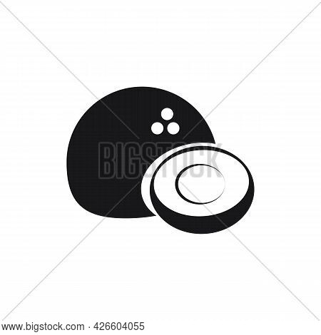 The Design Of The Coconut Fruit. Whole And Half Coconut Vector Illustration