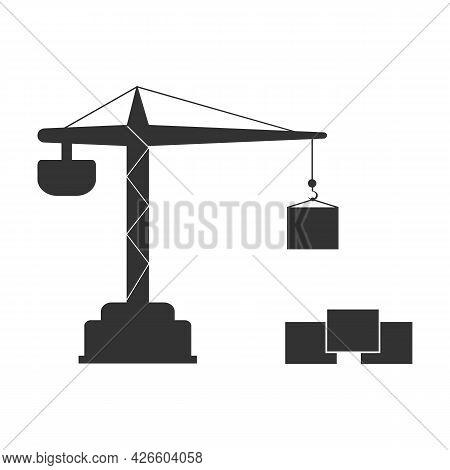 Building Construction Crane Line With Boxes. Tower Crane Vector Illustration