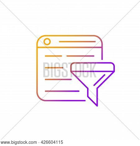 Filter Bubble Gradient Linear Vector Icon. Intellectual Isolation. Selective Info From Internet. Alg