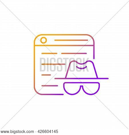 Private Browsing Gradient Linear Vector Icon. Keeping Browsing Activity Secure. Being Anonymous. Not