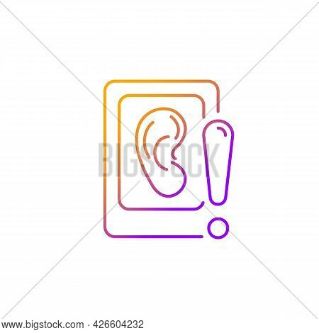 Eavesdropping On Mobile Devices Gradient Linear Vector Icon. Spying With Smartphone Microphone. Spyw