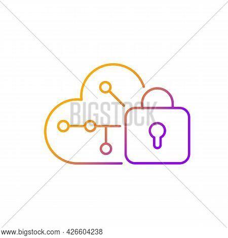 Cloud Encryption Gradient Linear Vector Icon. Transforming User Data Using Encryption Algorithms. Cl