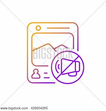 Social Media Censorship Gradient Linear Vector Icon. Restrict Access To Harmful Groups. Silencing Vo
