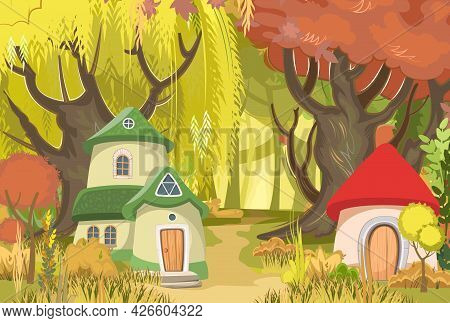 Fairy-tale Houses Against The Backdrop Of A Forest Landscape. A Clearing And A Path Among The Trees.