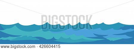 Waves Of Water In A River, Sea Or Ocean. Flow. Isolated On White Background. Swimming, Diving And Wa