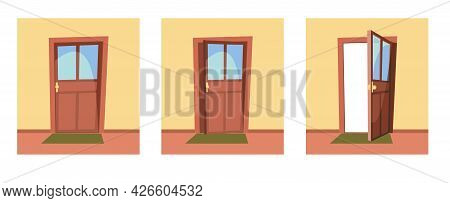 Set Of Doors. Open, Half Ajar And Locked. From Inside Of Room At Home. Yellow Wall. Way Is Open. Car