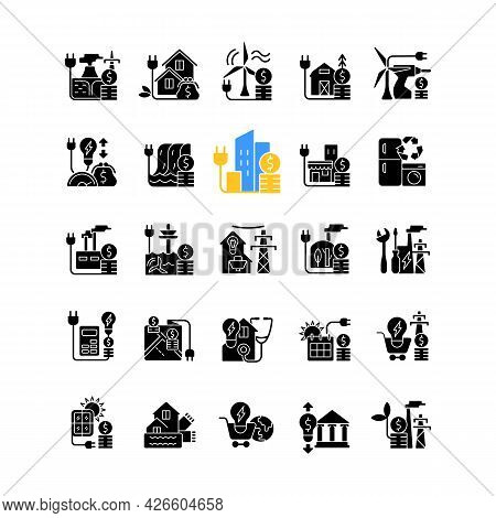 Energy Purchase Black Glyph Icons Set On White Space. Alternative Renewable Electrical Power Cost. U